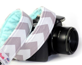 Chevron Camera Strap - DSLR Camera Strap - Gray Chevron with Aqua Minky
