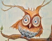 Giclee Print Illustration Leaning Norman the Owl by Rebecca Salcedo Ebsq Ffaw