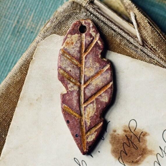Boho feather- handmade ceramic pendant-  rust