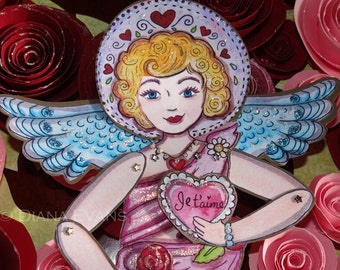 Je t'aime Love Angel Paper Doll Fully Assembled