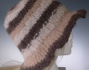 Women Girls  ELEGANCE In EARTH TONES2 100% aLPACA  hand spun  hand knit Designer hat in natural brown white beige Floppy brim