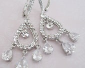 Bride - Bridesmaids - Rhinestone - Chandelier Earrings Collection Oval 2 - Wedding Jewelry - Bridal Accessories- Bridal Jewelry