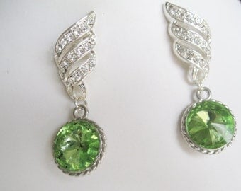 Deep Discount Clearance Bridal Jewelry Bridal Accessories Wedding Jewelry Bridesmaids Earrings Apple Green Rhinestone Earrings