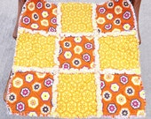 Rag Quilt Lovey, Security Blanket, Yellow, Orange, Perfect for Baby Boy or Girl, Baby Bedding, Baby Blanket, Baby Rag Quilt
