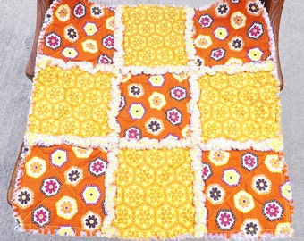 Rag Quilt Lovey - Security Blanket - Yellow Orange - Perfect for Baby Boy or Girl - Baby Bedding - Baby Blanket - Baby Rag Quilt