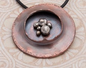 Copper and Silver Pebble Necklace