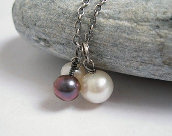 Bubble Pearl Necklace, Freshwater Pearl Charm, White Pearl, Peacock Gray Pearl, Sterling Silver Chain, Mother And Babies