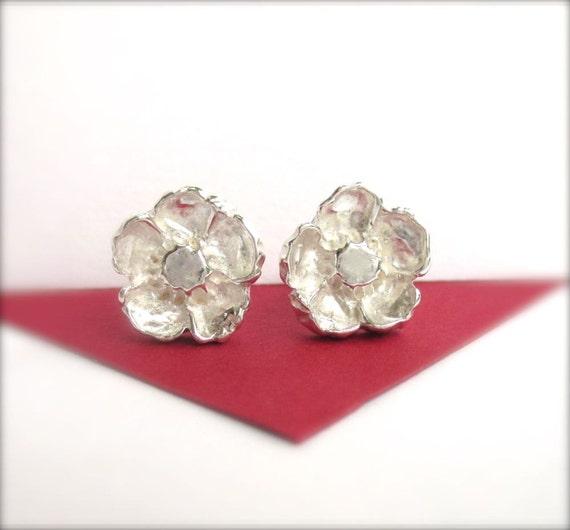 Poppy Flower Studs, Earrings Studs, Silver Poppy Studs, Spring Jewelry, For Mom