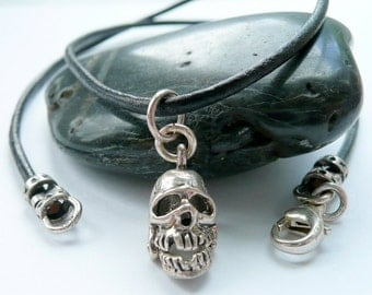 Handcrafted Unisex Sterling Silver Skull Charm Black Leather Cord Pirate Black Sails Gothic Punk Rock N Roll Halloween Boho Wiccan Necklace