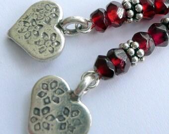 Handcrafted Artisan Red Garnet Sterling Silver Hearts OOAK Semi Precious Stone Bohemian Gypsy Dangle Earrings