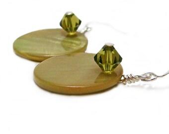 Peridot Shell - Beautiful Shell and Swarovski Crystal Wire Wrapped Earrings