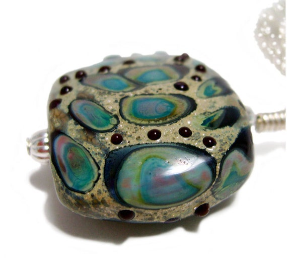 Agates a Plenty - Two Sided Copper Green, Brown and Fine Silver Lampwork Pendant Necklace