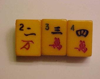Bakelite Amber Mah-Jongg Pin Lucky 345 Jan Carlin Original