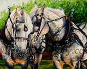 Horse Art - Percheron Draft Horse Team Mini Print, draft horse art, horse painting, horse print, western art, western decor, horse decor