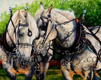 Horse Art, Percheron Draft Horse Print, draft horse art, horse painting, horse print, western art, western decor, horse decor, horse gifts