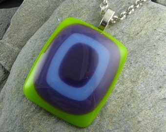 Lime, Dark Purple and Periwinkle Fused Glass Pendant.  Fused Glass Jewelry. Modern Necklace. Funky Jewelry. Handmade in Texas.