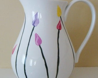 Tulip Pitcher Hand Painted