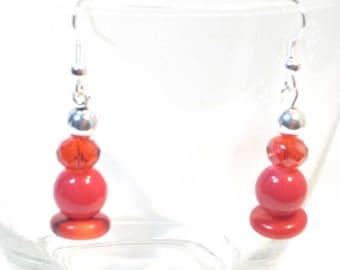 Red Round Gemstone Earrings, Red, Gemstone, Root Chakra