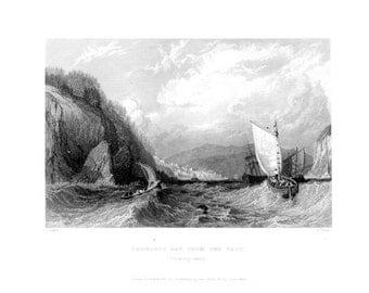 CROMARTY Bay CROMARTY-SHIRE ~ Scotland Scottish Vintage Antique Art Print Steel Plate Engraving 1830s [InvSctLnd 115
