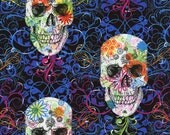 On SALE By Half Yard Timeless Treasures FLOURISH SKULLS Multi CM2108 Fabric