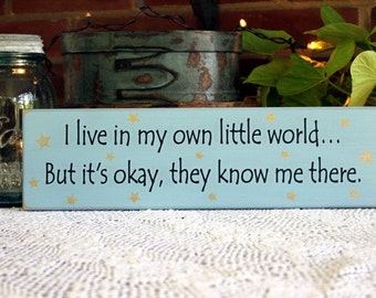 I live in my own little world Sign Wood Funny Painted Wall Decor