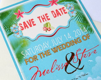 Vintage Hawaiian Tropical Beach Destination Wedding Save the Date