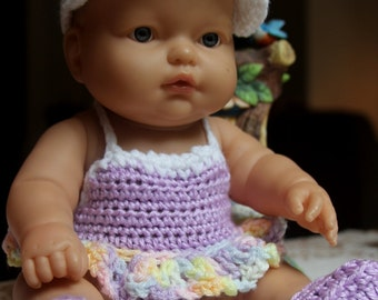 Crochet outfit 11 12 13 14 Berenguer Baby doll Swimsuit Coverup White Lavender Pink Yellow