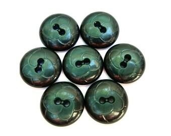 SALE-25 Vintage buttons beautiful green flower design 19mm