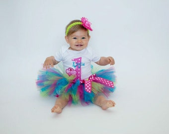 First Birthday Tutu Outfit - Baby Girl Tutu Set - 1st Birthday Cupcake Tutu - Cake Smash