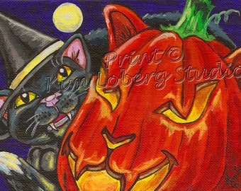 Witch's Black Cat Pumpkin Cat-O-Lantern Moon Halloween ACEO mini art PRINT Kim Loberg HA31 Fantasy Nebraska Artist
