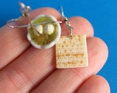 Matzah and Matzo ball Soup earrings - Jewish Food -Food earrings - food jewelry - matzah - matzo - Seder - Passover - food - jewish
