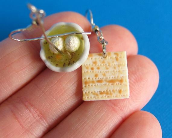 matzah and matzo ball soup earrings jewish food food