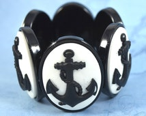 Stormy Seas Cameo Bracelet - Black Anchor Stretch Bracelet