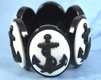 Stormy Seas Cameo Bracelet - Black Anchor Stretch Bracelet