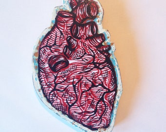 Human Heart, Anatomical Heart Woodblock Print Painting on Wood, ready to hang wall decor, Made to Order