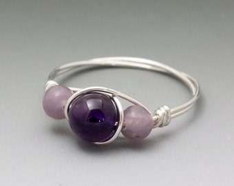 Amethyst & Lepidolite Sterling Silver Wire Wrapped Bead Ring - Made to Order, Ships Fast!