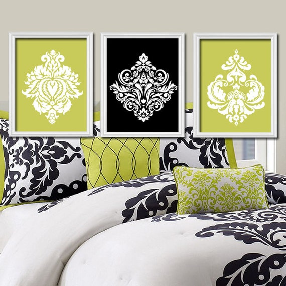 Lime green black wall art bedroom pictures canvas or by Green and black bedroom