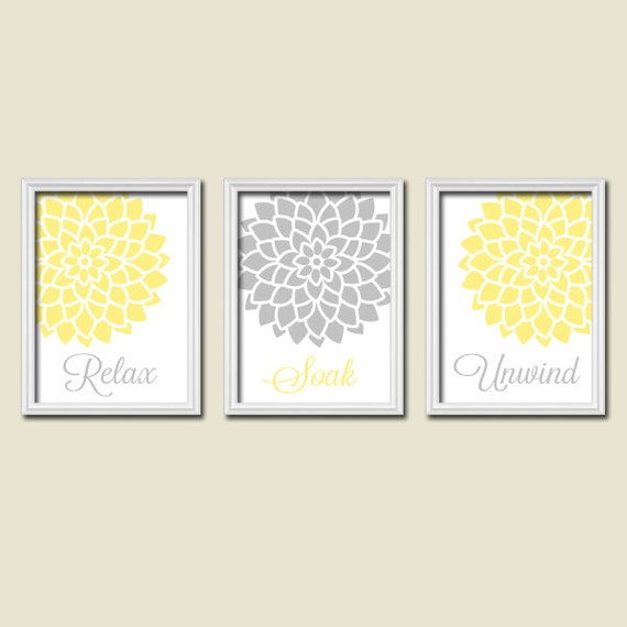 Yellow And Grey Bathroom Wall Decor : Yellow gray bathroom wall art canvas or prints by trmdesign