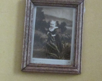 doll house miniature framed photo baby