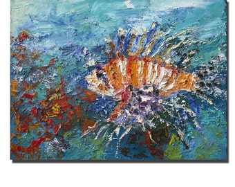SALE Lion Fish Coral Reef Tropical Original Oil Painting on Linen by Ginette