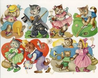 Vintage German Scrap - Playful Kittens for Paper Arts