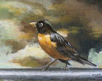 "Original Watercolor Painting 7"" x 10"" Bird Painting Robin"