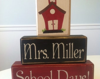 Teacher school days little red school house personalized teacher wood sign blocks primitive country rustic teacher gifts