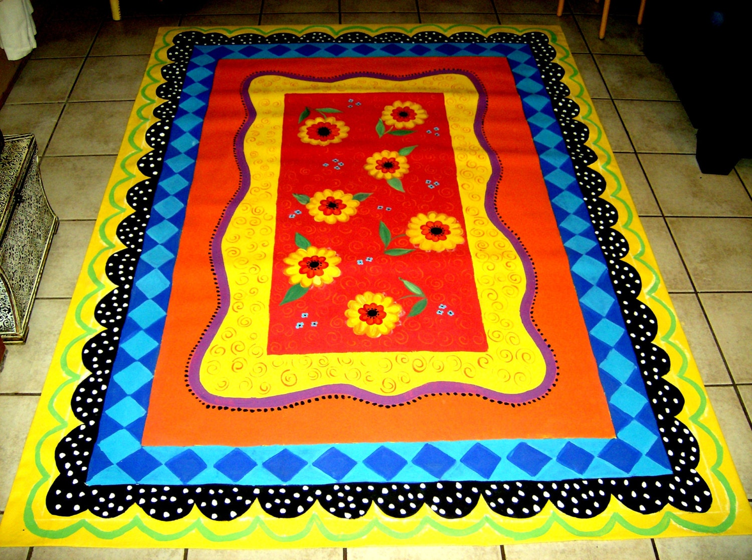 Floorcloth Hand Painted Canvas Rug 5 X7
