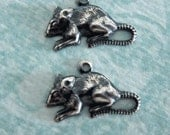 2 Silver Rat Charms 3293
