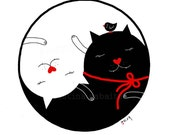 Yin Yang Art, Wall Art, Yin Yang Cat Illustration, Black and White