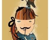 Illustration card with eco envelope - Moustache