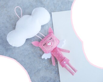 SALE Pink Pig Toy, Wall Hanging Art, Door Ornament, Cute Animal Toy
