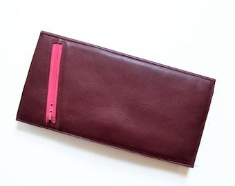 Womens Wallet / Leather Wallet / Travel Wallet for Women / Passport Organizer / Clutch Wallet for Women - Stella Slim Wallet in Burgundy