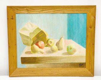 Vintage Tabletop Oil Painting by Pat Burns